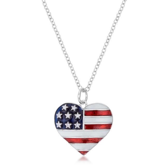 Stars and Stripes Rhodium Necklace with CZ - N01333R-V01