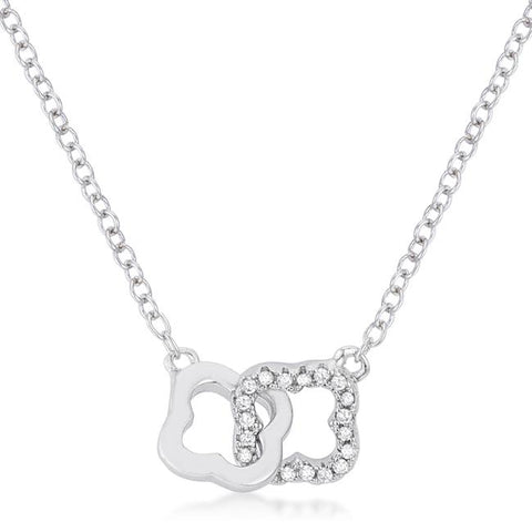 .21 Ct Rhodium Necklace with Floral Links - N01337R-C01