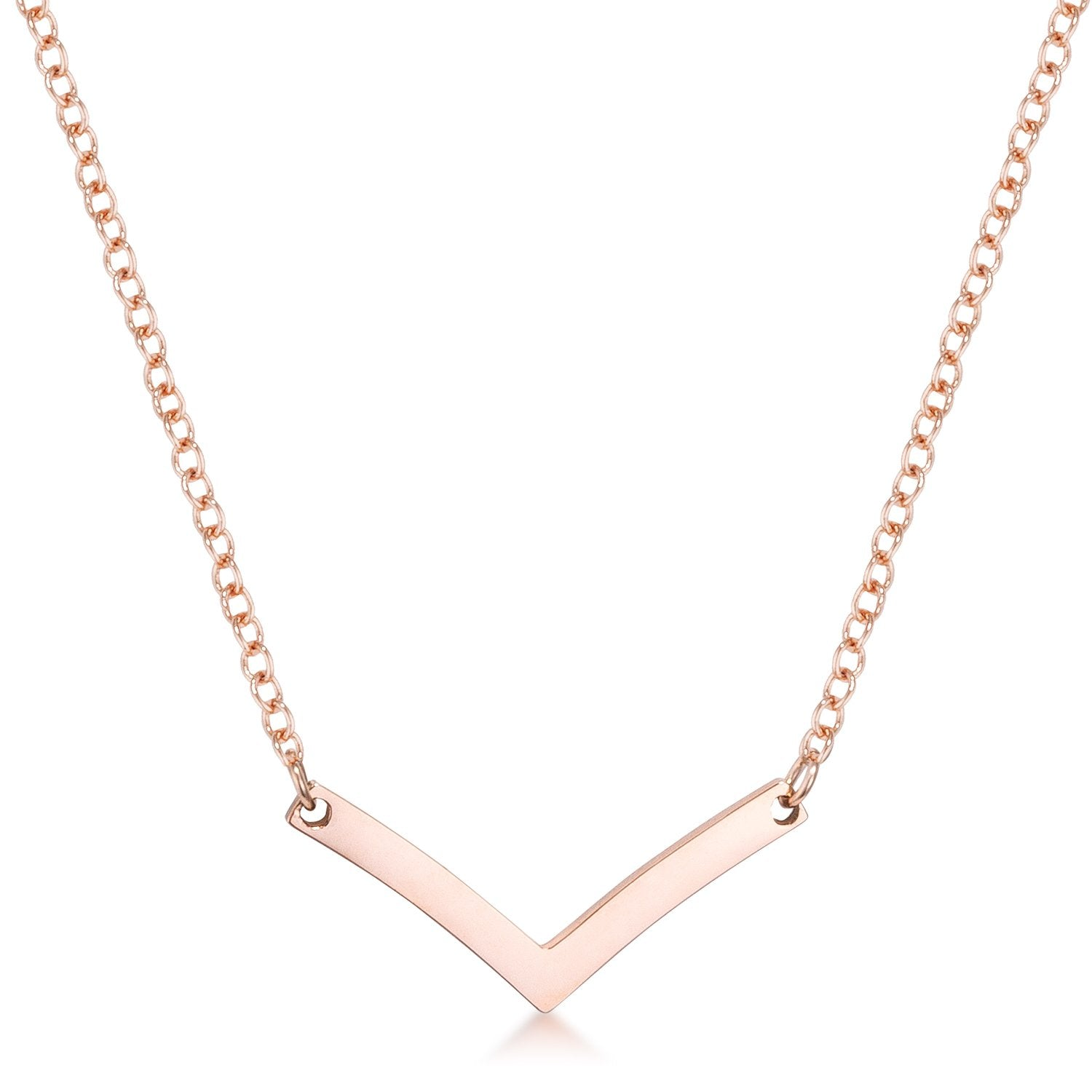Stainless Steel Rose Goldtone Chevron Necklace - N01338AV-V00