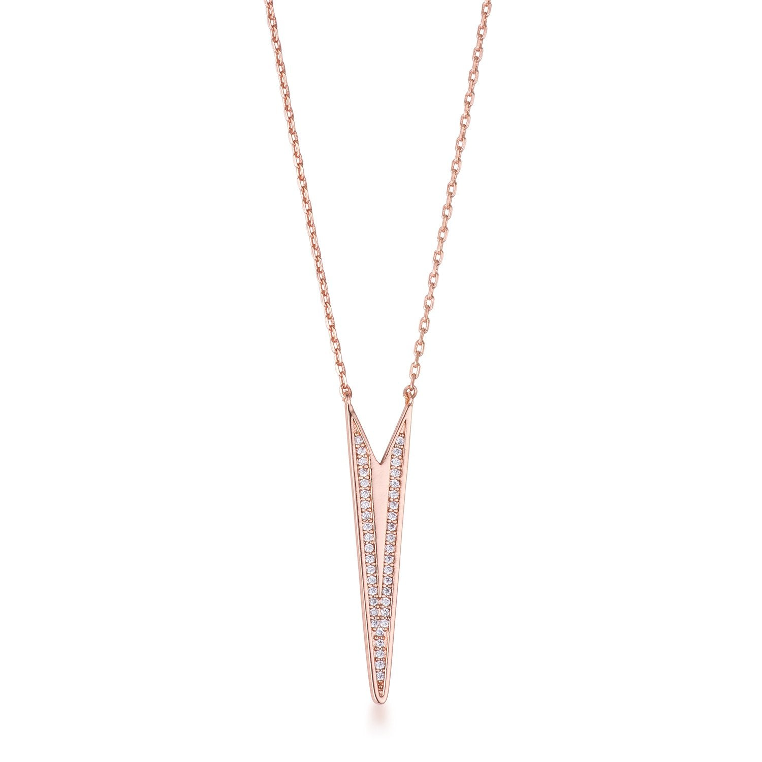 Rose Gold Plated CZ Embedded Elongated Arrow Necklace .2Ct - N01340A-C01