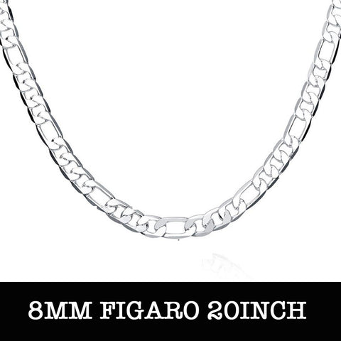 Silver Figaro Chain 20inch 8mm LS N018