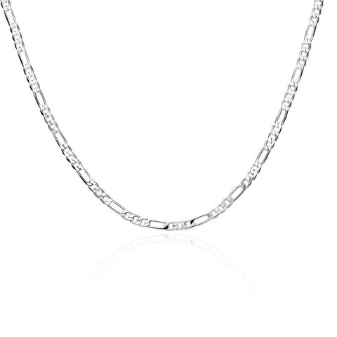 Silver Figaro Chain 22inch 4mm LSN102-22