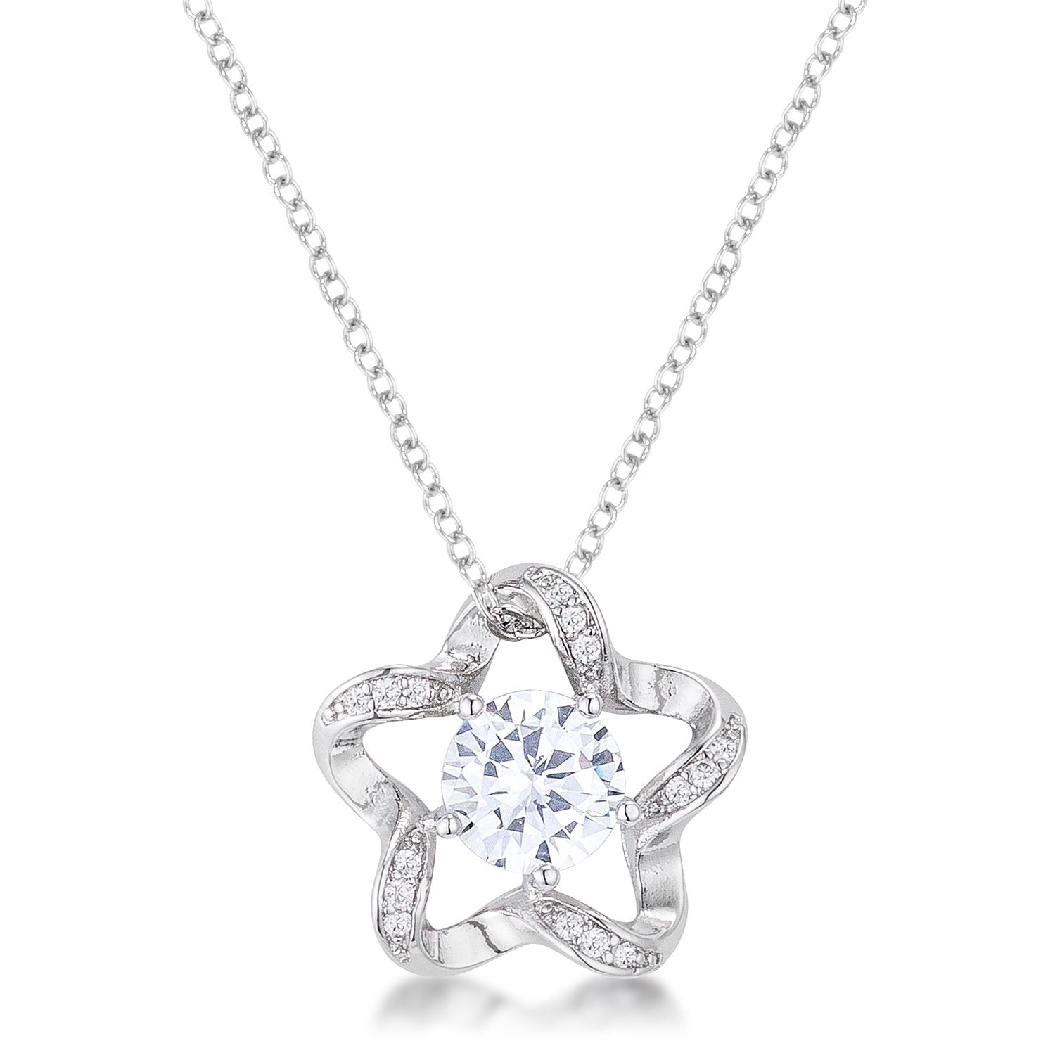 7mm Cubic Zirconia Star Fashion Pendant - P11109R-C01