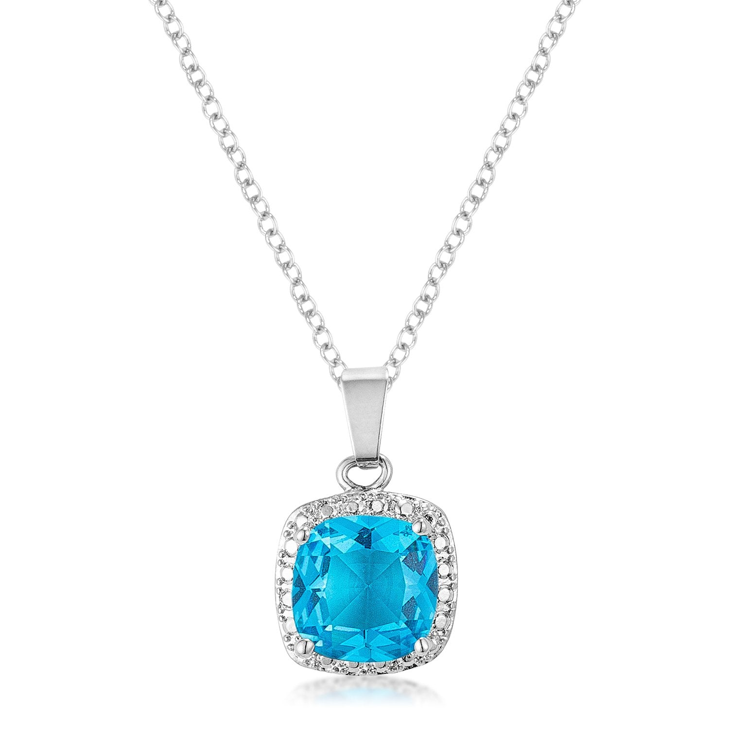 10mm Cushion Cut Aqua Cubic Zirconia Fashion Pendant - P11116R-S32