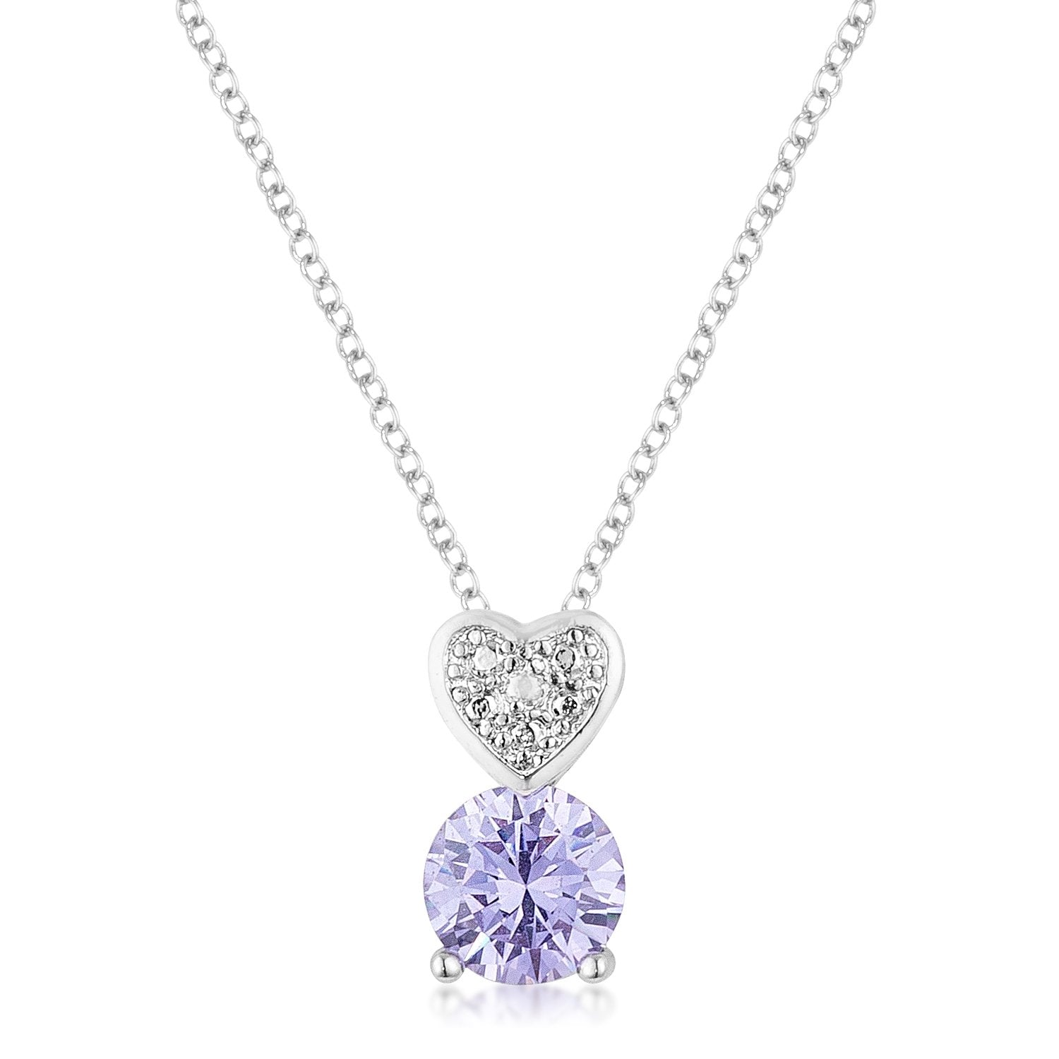 8mm Lavender Cubic Zirconia Fashion Heart Pendant - P11123R-S22