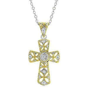 Veiled Cross Pendant - P11347T-C01