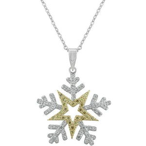 Two-tone Finished Snowflake Pendant - P11359T-C01