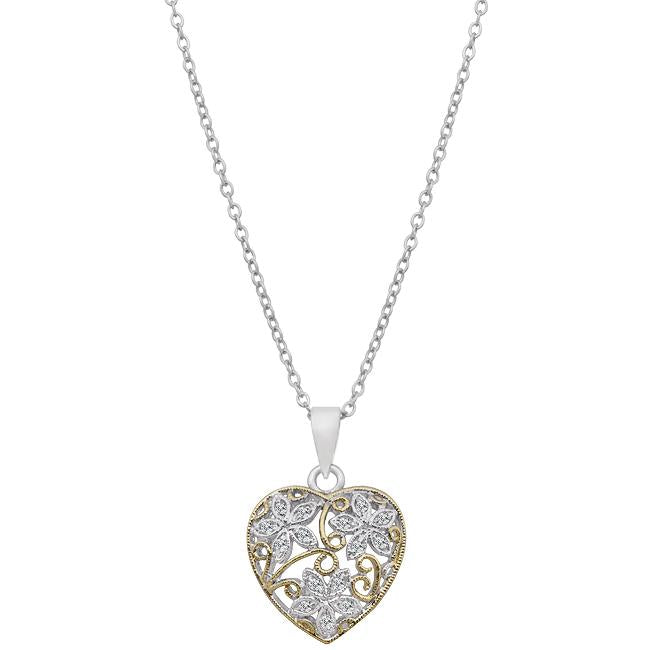 Floral Inspired Heart Pendant - P11369T-C01