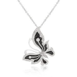 Black and White Large Cubic Zirconia Butterfly Pendant - P11406T-C03