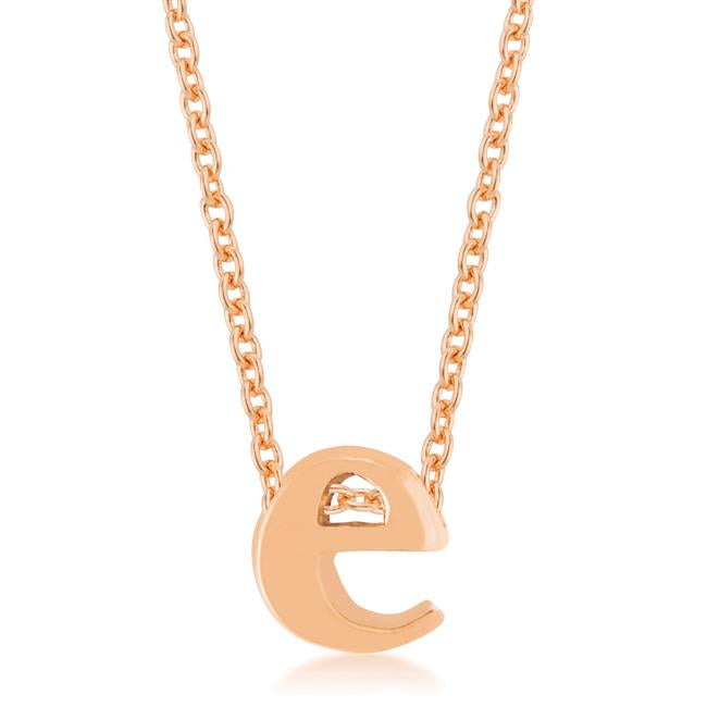 Rose Gold Finish Initial E Pendant - P11409A-V00-E