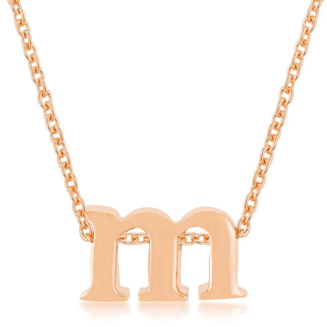 Rose Gold Finish Initial M Pendant - P11409A-V00-M