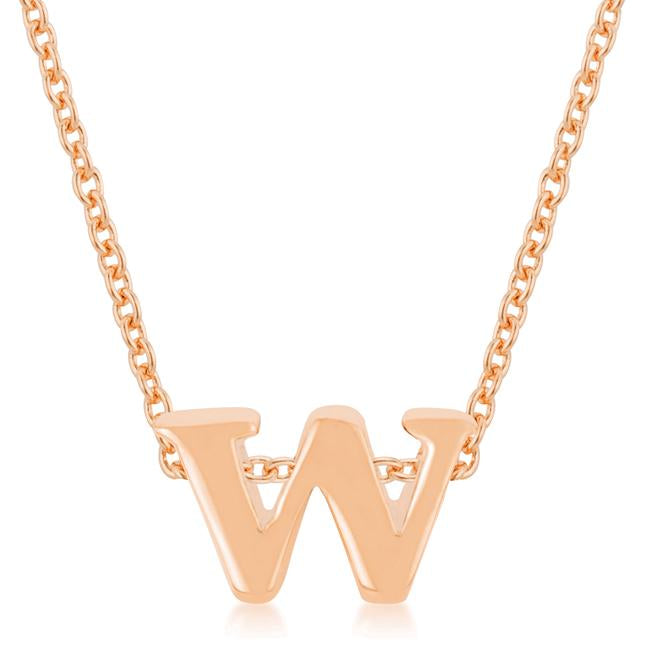Rose Gold Finish Initial W Pendant - P11409A-V00-W