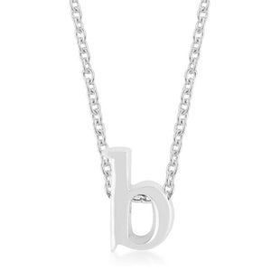 Rhodium Plated Finish Initial B Pendant - P11409R-V00-B