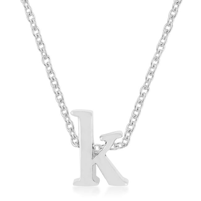 Rhodium Plated Finish Initial K Pendant - P11409R-V00-K