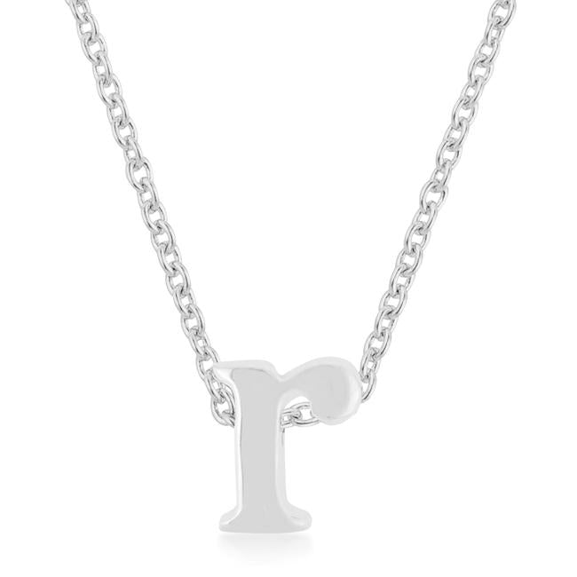Rhodium Plated Finish Initial R Pendant - P11409R-V00-R