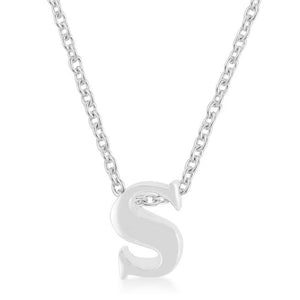 Rhodium Plated Finish Initial S Pendant - P11409R-V00-S
