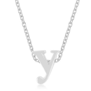 Rhodium Plated Finish Initial Y Pendant - P11409R-V00-Y