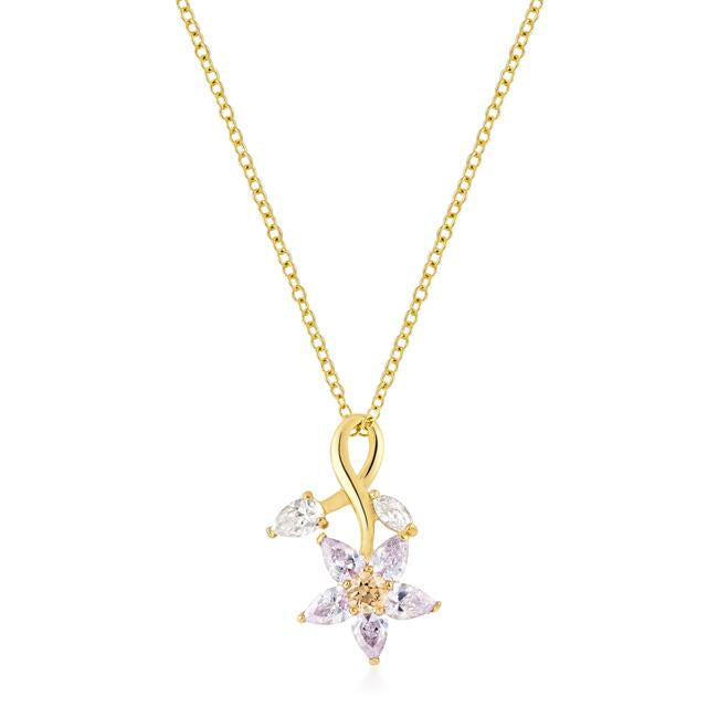 Purple Flower Drop Pendant - P11422G-V01