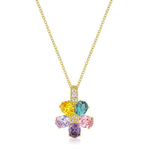 Multi-color Floral Pendant in Goldtone - P11441G-V01