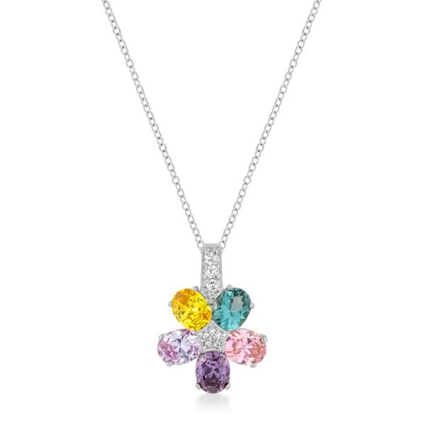 Multi-color Floral Pendant in Rhodium Plated - P11441R-V01