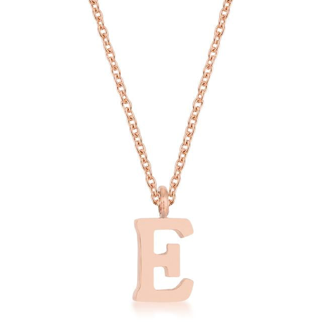 Elaina Rose Gold Stainless Steel E Initial Necklace - P11456A-V00-E