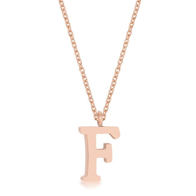 Elaina Rose Gold Stainless Steel F Initial Necklace - P11456A-V00-F