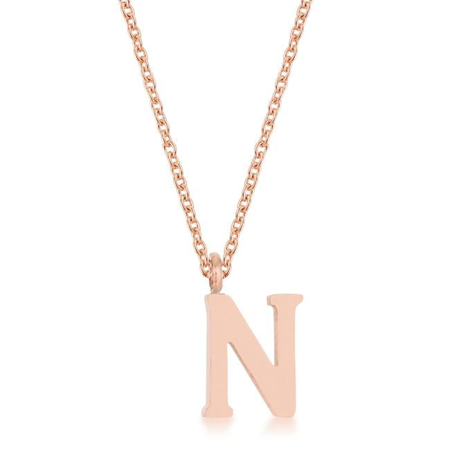 Elaina Rose Gold Stainless Steel N Initial Necklace - P11456A-V00-N