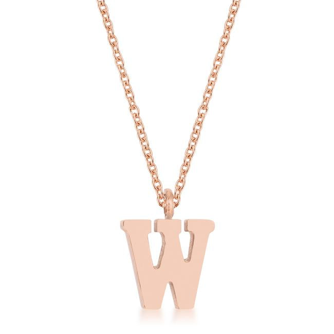 Elaina Rose Gold Stainless Steel W Initial Necklace - P11456A-V00-W
