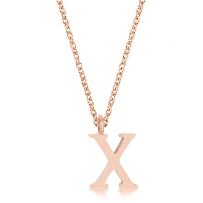 Elaina Rose Gold Stainless Steel X Initial Necklace - P11456A-V00-X