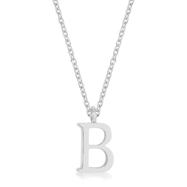 Elaina Rhodium Stainless Steel B Initial Necklace - P11456R-V00-B