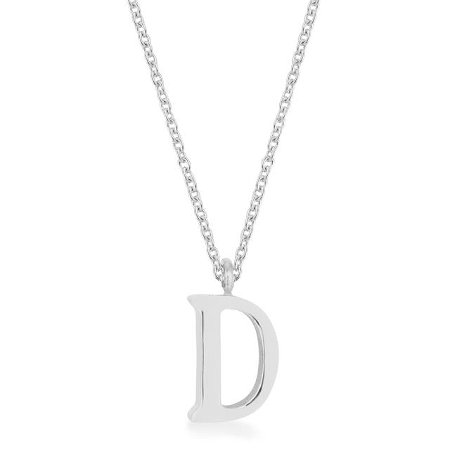 Elaina Rhodium Stainless Steel D Initial Necklace - P11456R-V00-D
