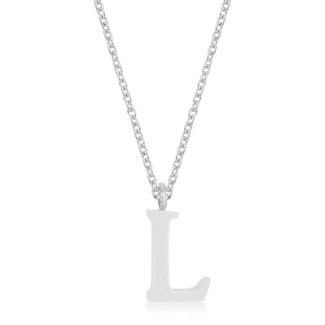 Elaina Rhodium Stainless Steel L Initial Necklace - P11456R-V00-L