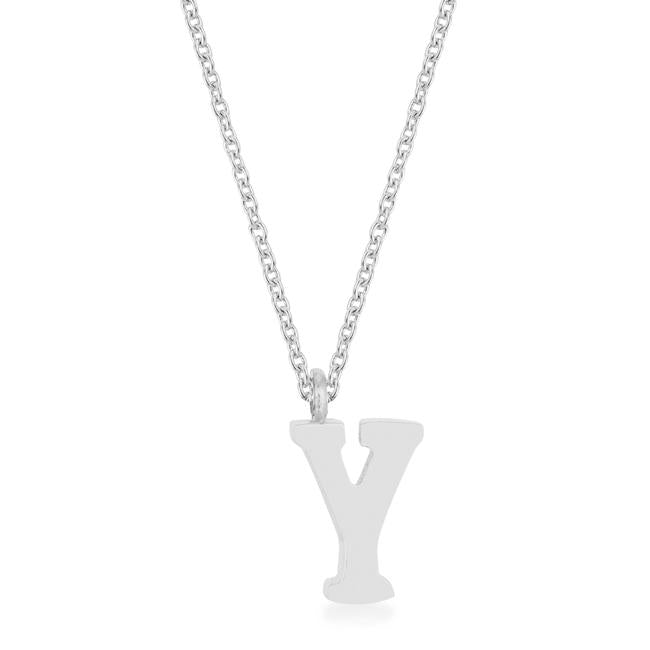 Elaina Rhodium Stainless Steel Y Initial Necklace - P11456R-V00-Y