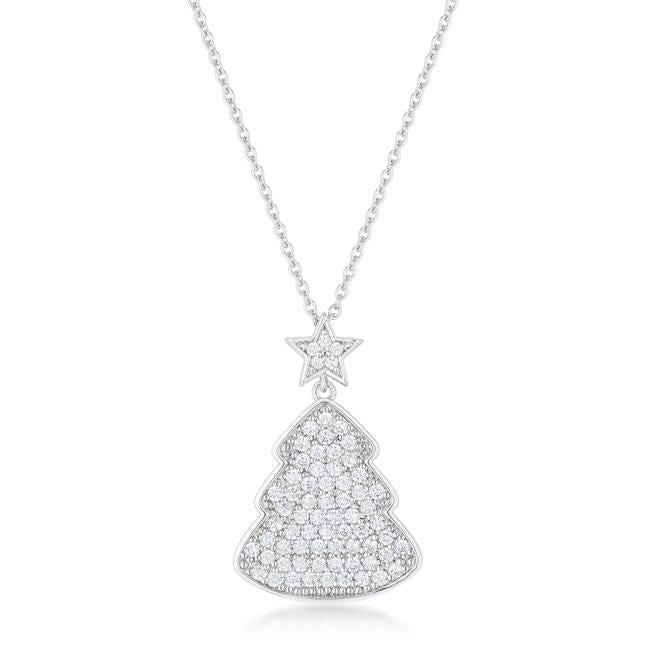 Clear Christmas Tree Drop Necklace - P11457R-C01