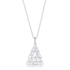 .2 ct CZ Rhodium Christmas Tree Pave Holiday Pendant - P11463R-C01