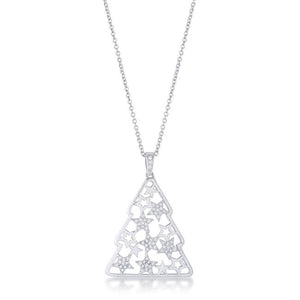 CZ Rhodium Christmas Tree With Mixed Stars Pave Holiday Pendant .2 ct - P11464R-C01