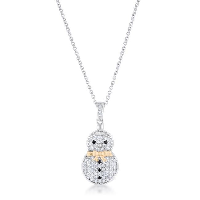 CZ Two-Tone Snowman Pave Holiday Pendant .35 ct - P11465T-C03