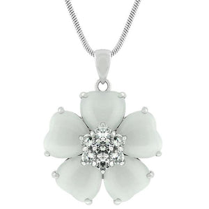 White Cats Eye Cubic Zirconia Flower Pendant - P20011R-C93