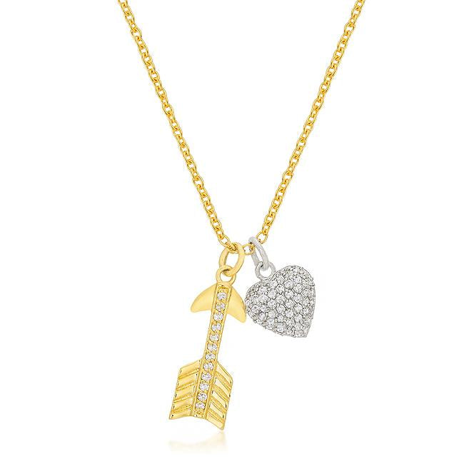 Pave Heart and Arrow Pendant - P50164T-C01