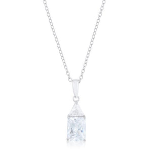 Classic Cubic Zirconia Sterling Silver Drop Necklace - P50176RS-C01