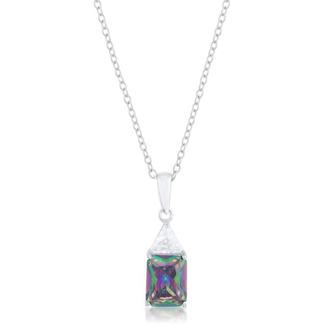 Classic Mystic Cubic Zirconia Sterling Silver Drop Necklace - P50176RS-C19