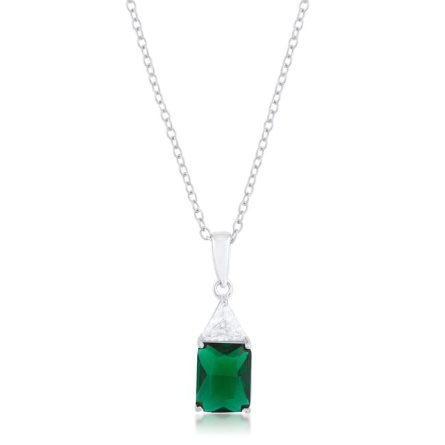 Classic Emerald Cubic Zirconia Sterling Silver Drop Necklace - P50176RS-C40