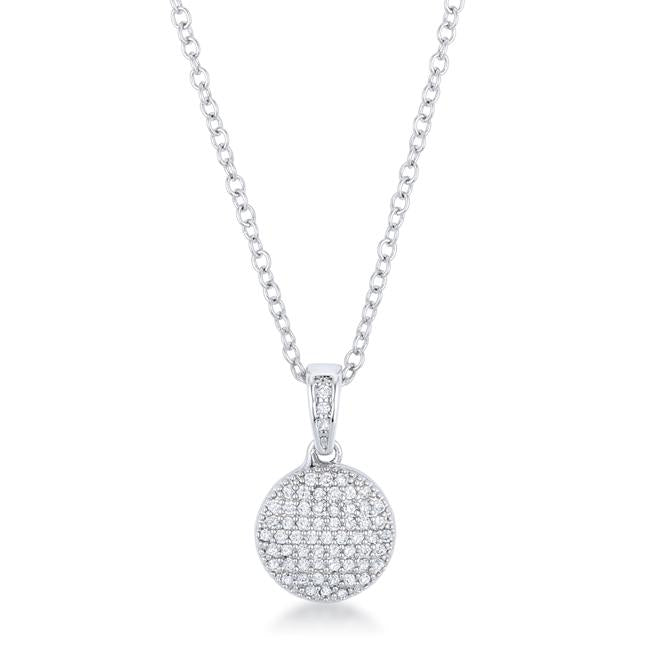 Lovely Rhodium Necklace with CZ Disk Pendant - P50188R-C01