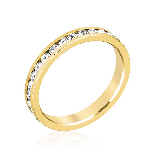 Stylish Stackables Clear Crystal Gold Ring - R01147G-C02