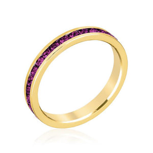 Stylish Stackables with Purple Crystal Ring - R01147G-V20