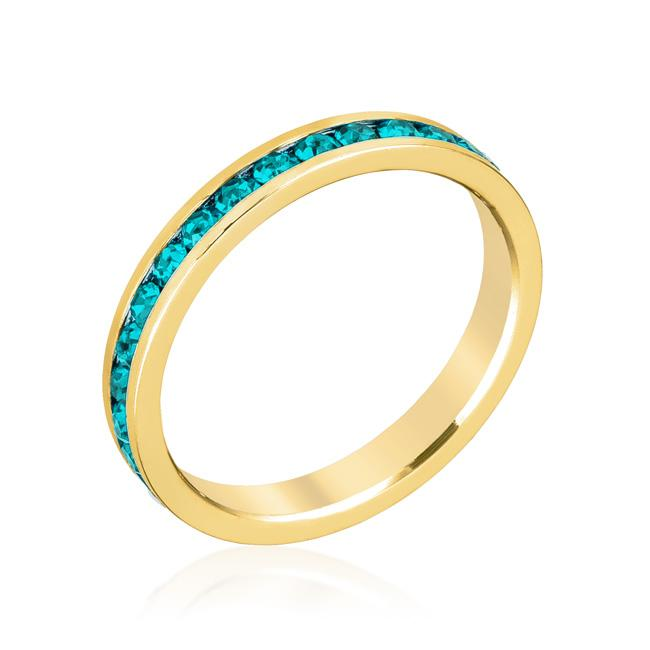 Stylish Stackables Turquoise Crystal Gold Ring - R01147G-V39