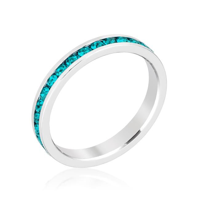 Stylish Stackables with Turquoise Crystal Ring - R01147R-V39