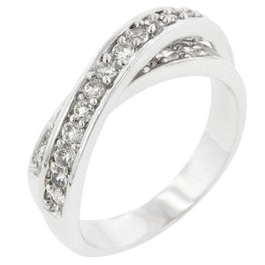 Double Cross Cubic Zirconia Ring - R07076R-C01