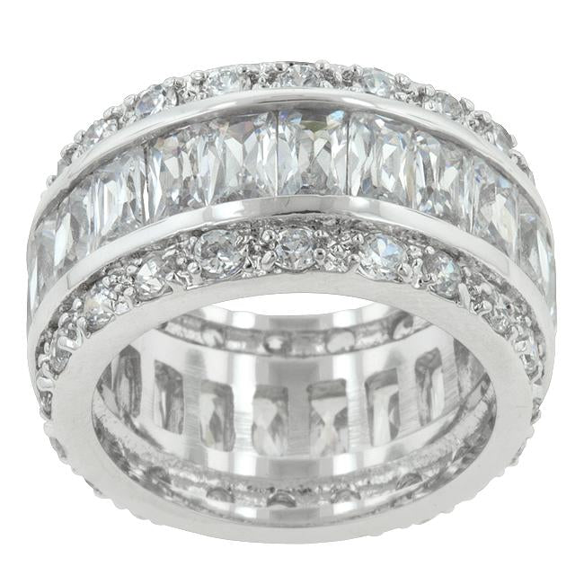 Triple Row White Zircon Eternity Ring - R07234R-C01