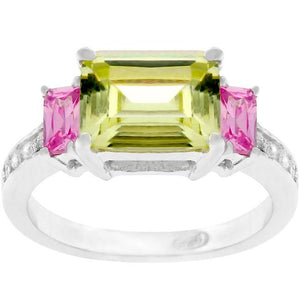 Emerald Cut Triplet Ring - R07403RS-V01